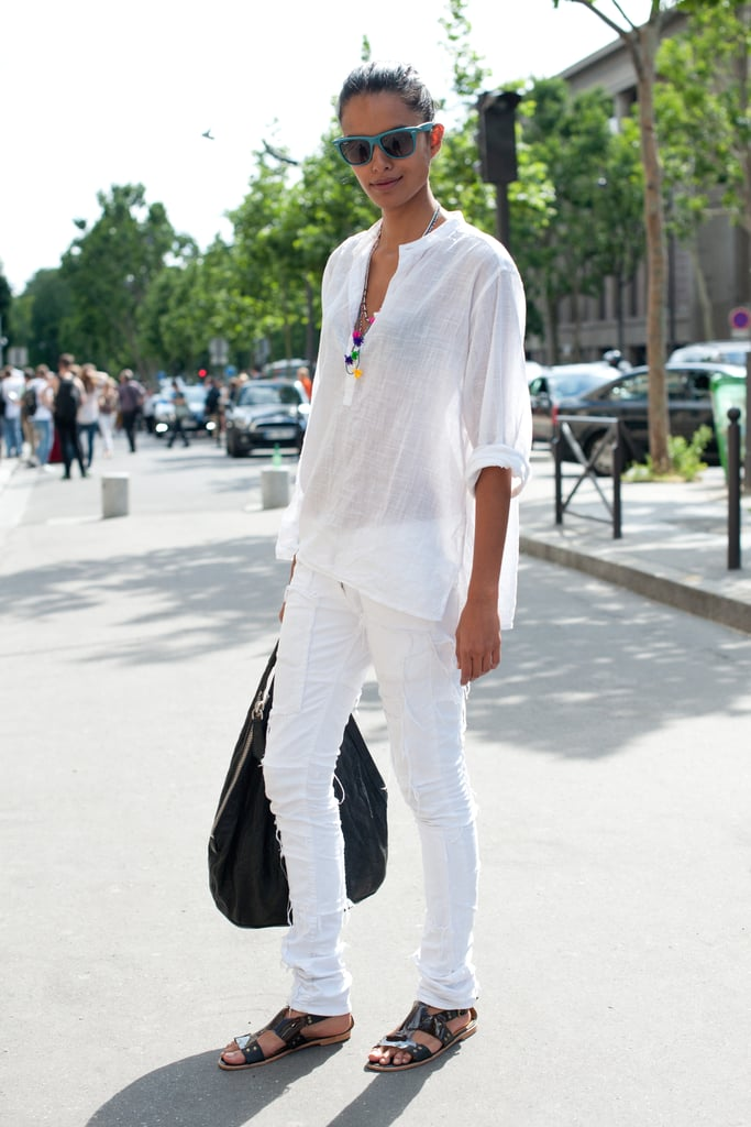 White on white feels effortlessly summery — and we love the chic black accents.