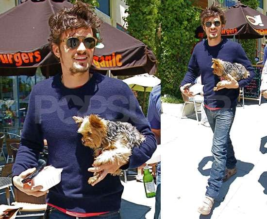 Pictures of Orlando Bloom and Cute Dog