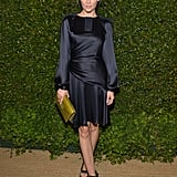 Jaime King looked stunning in slinky navy and black at the Vogue and MAC Cosmetics dinner in May.