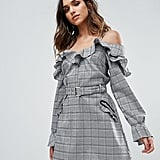 Missguided Check Frill Cold Shoulder Dress