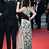 Kristen Stewart showed off her legs under a high slit for the On the Road premiere in Cannes.