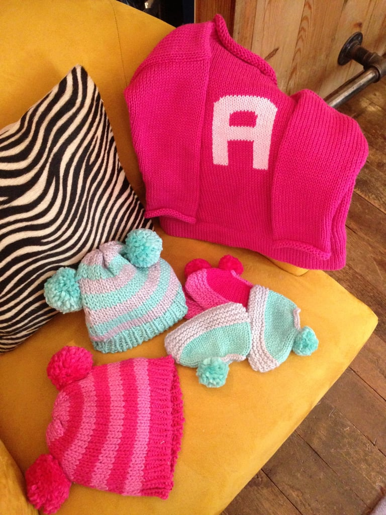 Loving these new single-initial monogrammed sweaters and knit accessories!