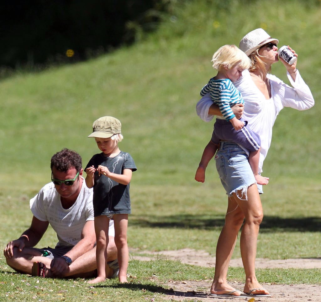 Naomi Watts, Liev Schreiber, and their two sons are spending a summertime Christmas in her native Australia. Back in the states it's the Winter solstice, but across the globe things are just heating up. Little Samuel and Sasha played around at a park with mom and dad in Sydney yesterday, and the foursome took a walk by Bondi Beach today. Naomi and Liev are enjoying some time off after a busy year spent promoting their latest projects, including Liev's Salt as well as Naomi's Fair Game and You Will Meet a Tall Dark Stranger. While the Watts-Schreiber family calls NYC their primary home base, her home country is the perfect place to spend the holidays in the sun.
