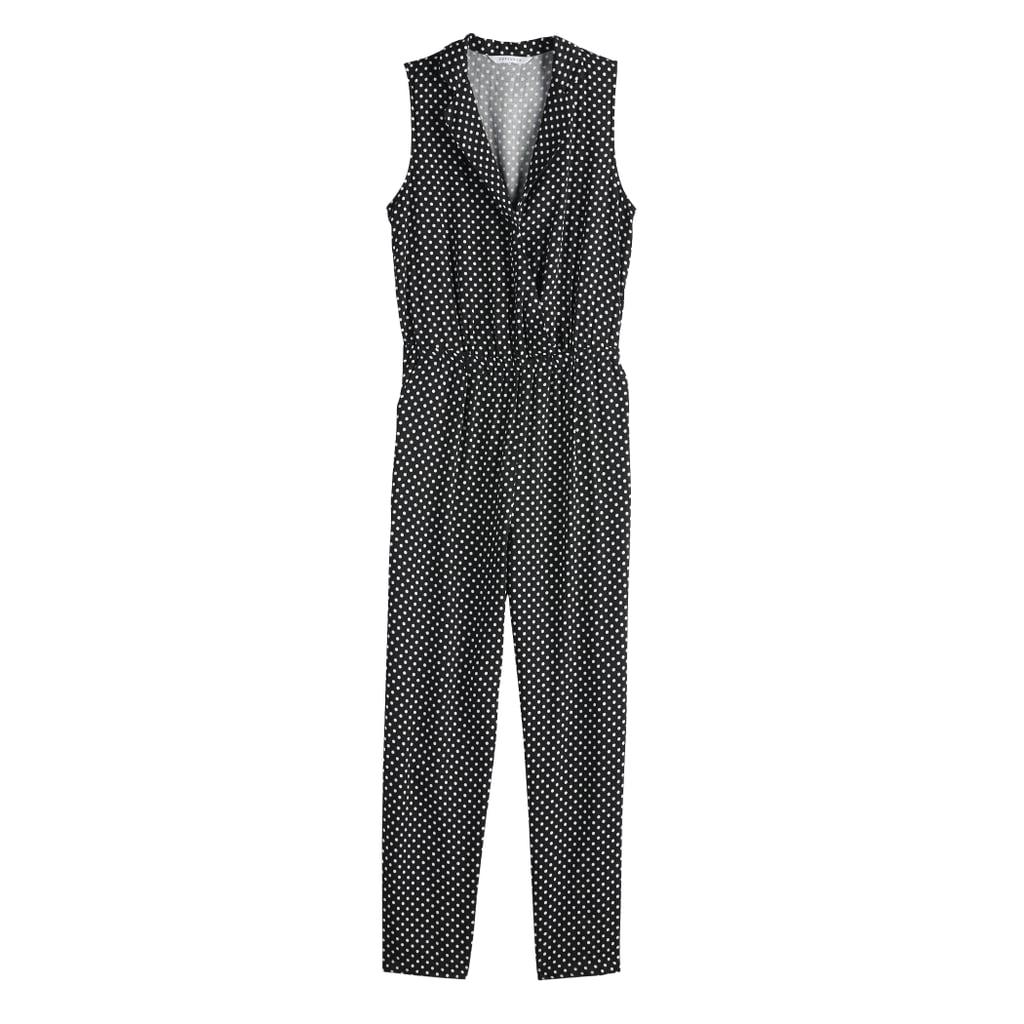 Tuxedo Jumpsuit in Jet Black Medium Dot