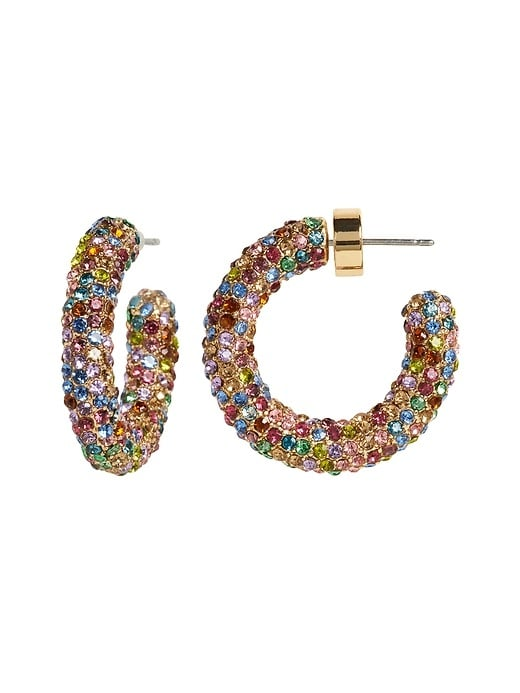 Tubular Pavé Hoop Earrings