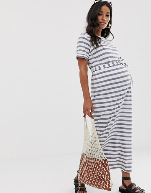 ASOS DESIGN Maternity exclusive maxi t-shirt dress in bold stripe with belt | ASOS