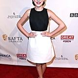 Millie Bobby Brown chose a classic black and white sheath for the BAFTA Tea Party.