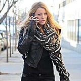 Blake Lively chatted on the phone.