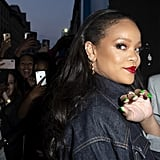 Rihanna With Neon Green Nails