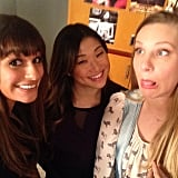 Lea Michele shared a photo with her Glee costars Jenna Ushkowitz and Heather Morris while shooting the show's 100th episode. Source: Instagram user msleamichele