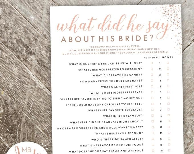 image regarding Would She Rather Bridal Shower Game Free Printable identify What Did He Say Pertaining to His Bride Printable Activity Printable