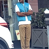 While in L.A., Tyler took dad style to a new level in a blue vest, bucket hat, and khaki pants.