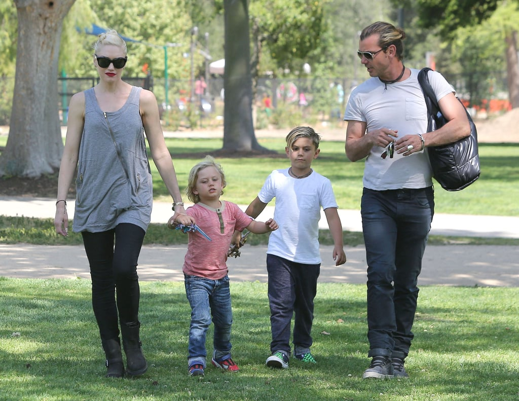 Gwen Stefani and Gavin Rossdale took their boys, Kingston and Zuma Rossdale, to the Kidspace Children's Museum in Pasadena yesterday. Gwen had some fancy accessories, wearing a Louis Vuitton and toting a Coco Cocoon Chanel tote. Kingston and his little brother, Zuma, had their hands full too, leaving the museum with souvenir toy lizards. Gwen and her men celebrated Easter last weekend with a fun-filled day at the park. The famous family also hit up the playground last week, after Gwen and Gavin took their boys to meet the Easter Bunny. Gwen is making the most of her time at home since No Doubt canceled their tour. Instead, she and her bandmates have been hard at work writing new music, as Gwen reassured fans on Twitter recently.