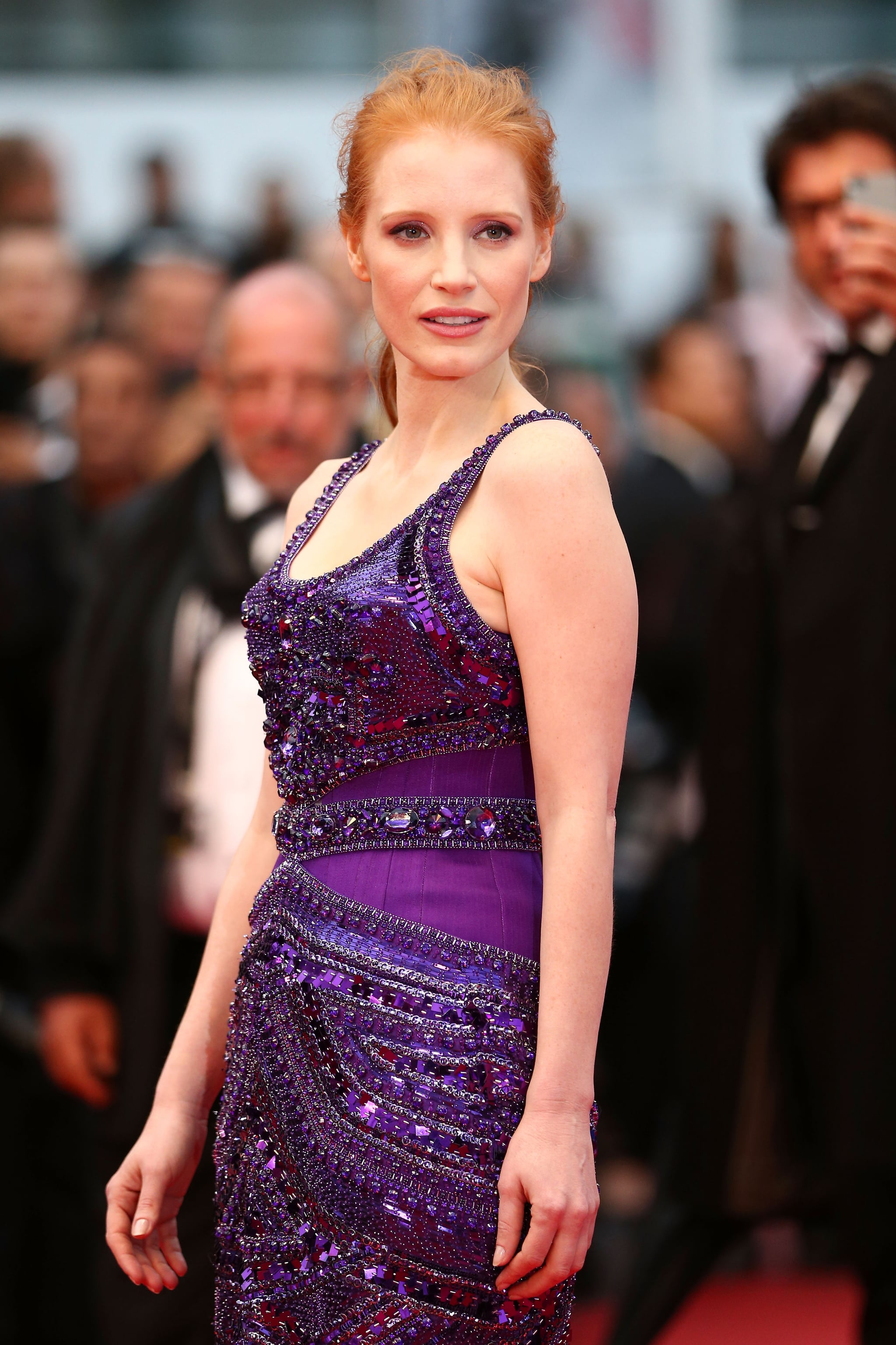 Jessica Chastain was a vision in purple at the All Is Lost premiere in Cannes on Wednesday.