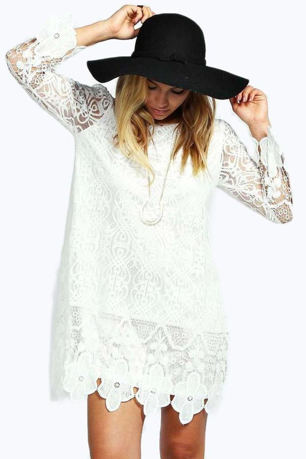 f22f1e0c1b8 Boohoo Maddie Flower Lace Long Sleeve Smock Dress (£25)