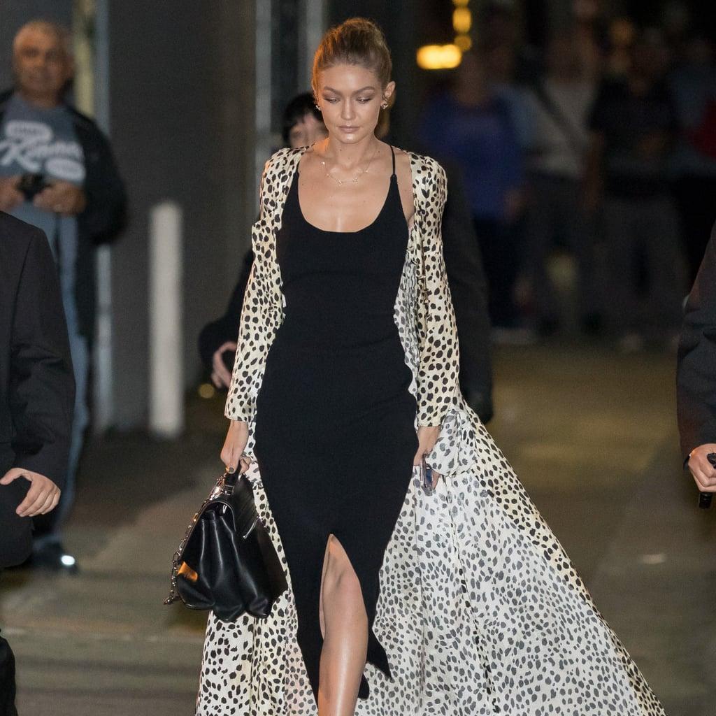Gigi Hadid's Leopard-Print Roberto Cavalli Coat | Nov. 2016