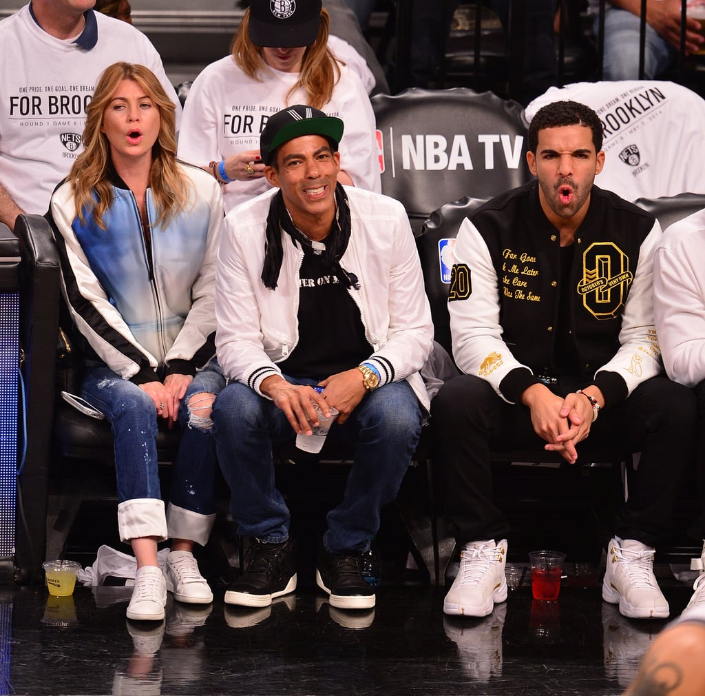 Ellen Pompeo Husband Drake And Ellen Pompeo At A Brooklyn Nets Game Popsugar Celebrity