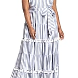 Eliza J Tiered Stripe Halter Maxi Dress