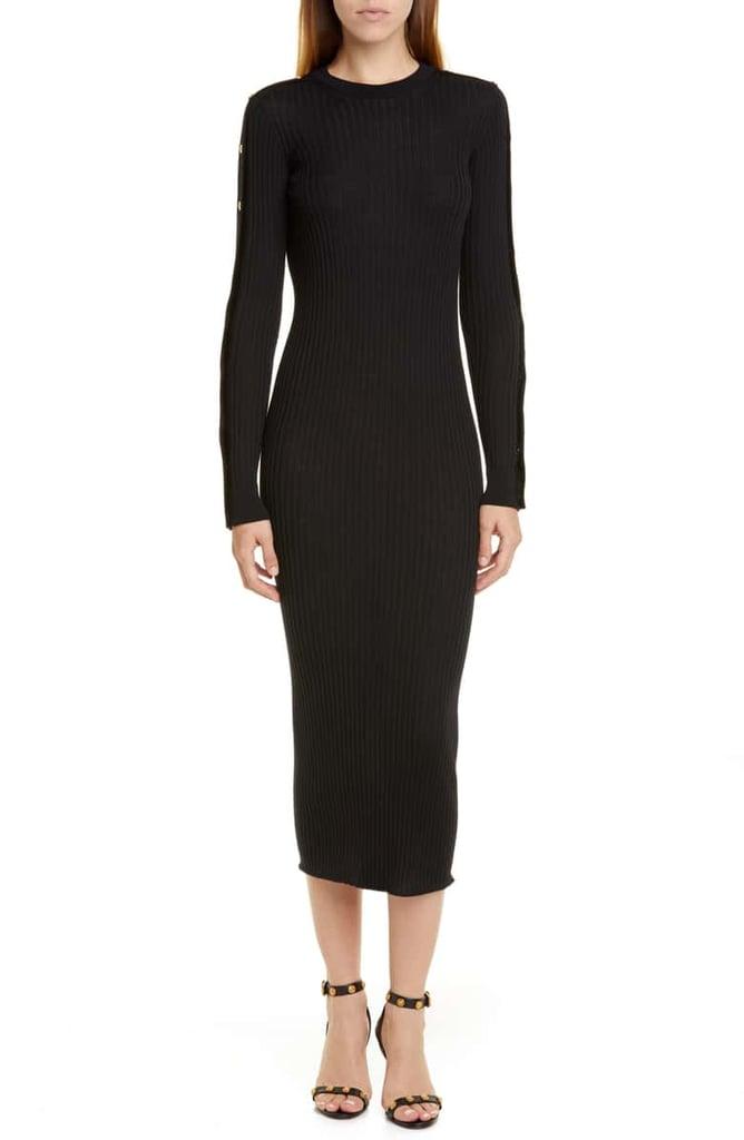 Versace Long-Sleeved Wool Rib Midi Sweater Dress