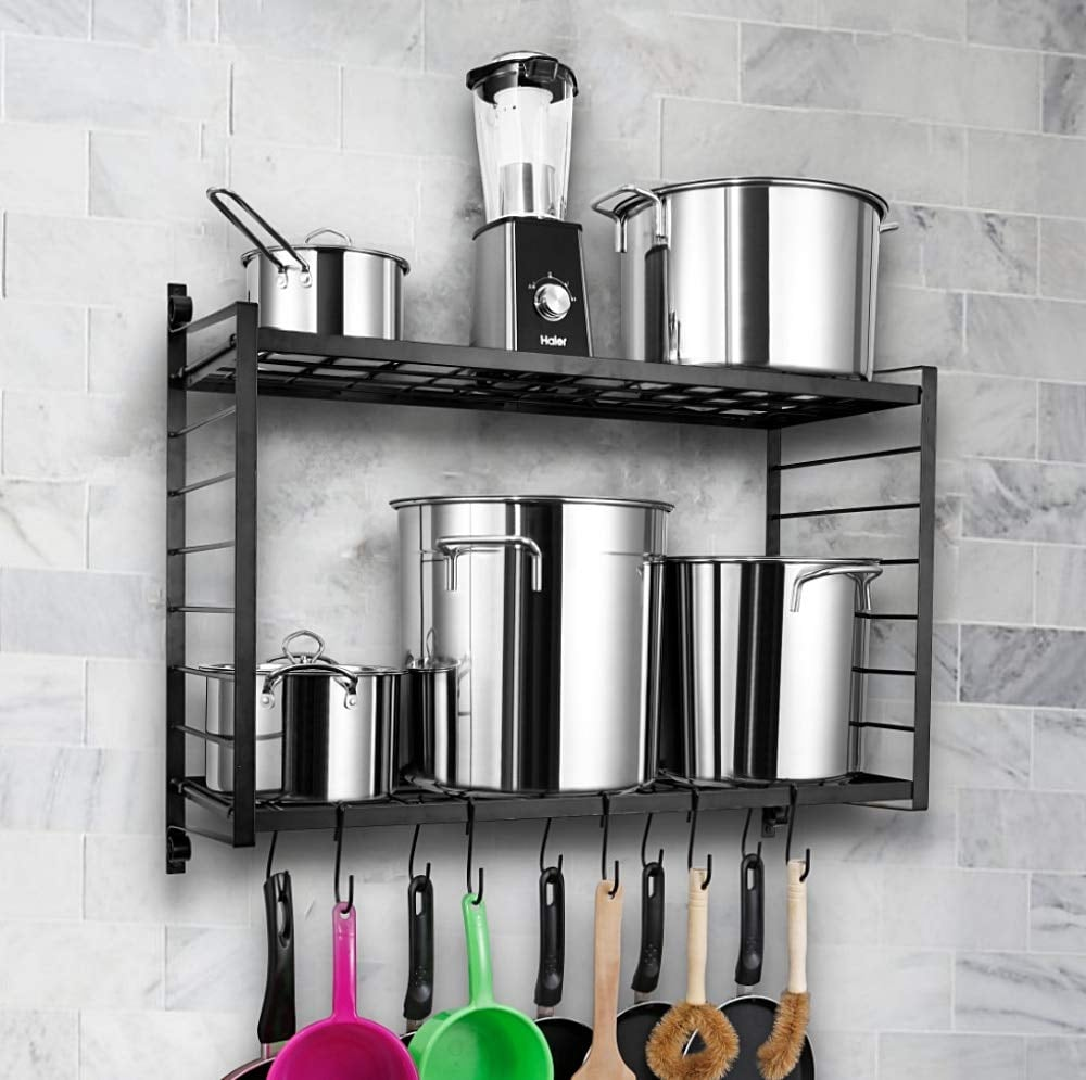 Two-Tiered Wall Mounted Pot Rack | Best Home Organizers on ...