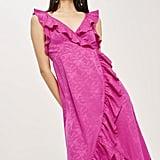 Topshop Jacquard Ruffle Faux Wrap Midi Dress