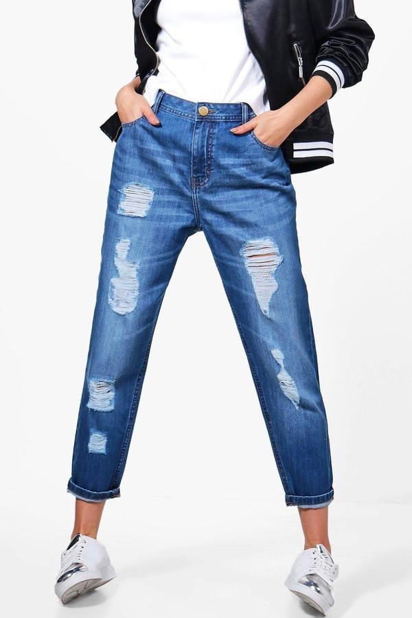 630c86c1b020 Boohoo Jenny Low Rise Distressed Mom Jeans | Denim Trends For 2018 ...