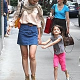 Katie Holmes and Suri Cruise took a walk together in NYC after returning from Connecticut.
