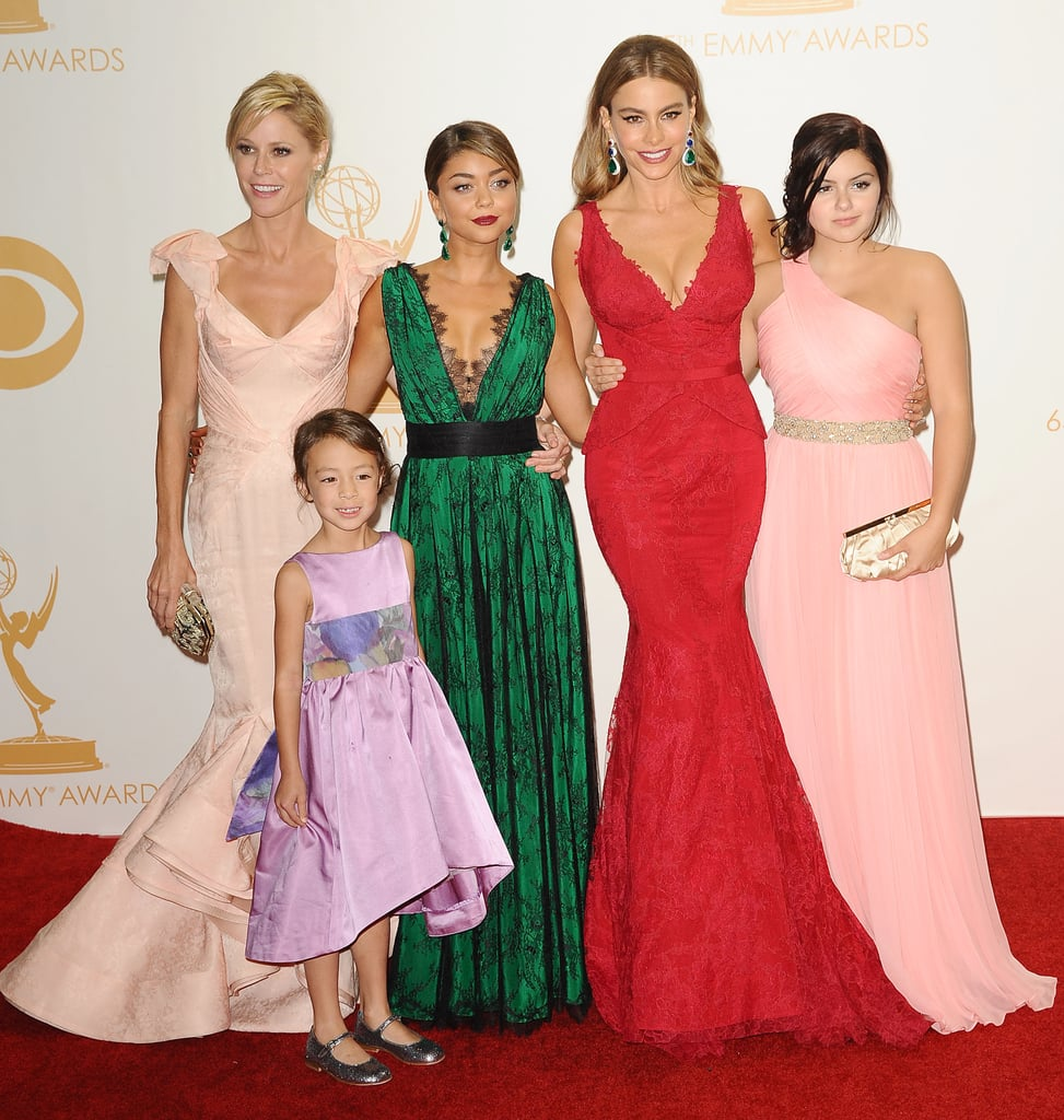 Sofia Vergara posed with her Modern Family castmates Julie Bowen, Aubrey Anderson-Emmons, Sarah Hyland, and Ariel Winter in the Emmys press room.