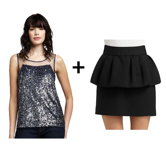 Peplum skirts are also all the rage right now. For a subtle take on the trend, find something black, then make it more holiday-appropriate via a sequined top. Black pumps would complete this ensemble with megaclass.  Get the look: Renzo and Kai sequin top ($295) Milly peplum skirt ($255)