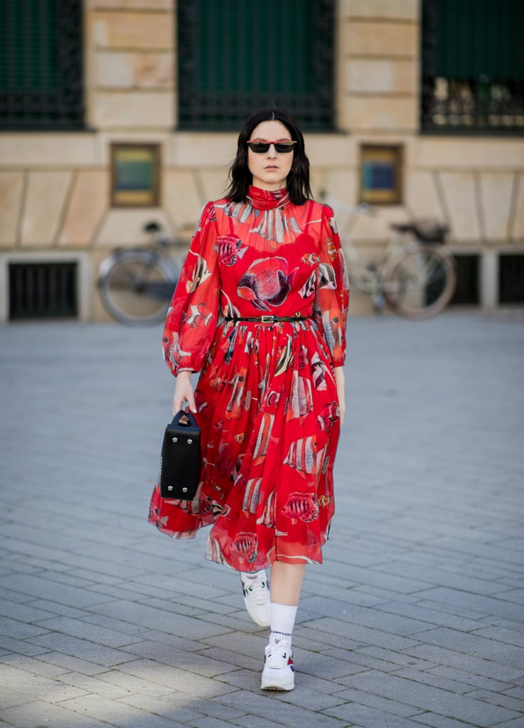 A Red Printed Dress With White Sneakers