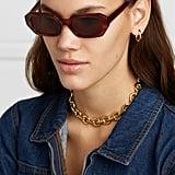 Le Specs La Dolce Vita Octagon Frame Tortoiseshell Acetate Sunglasses