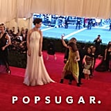 Katie Holmes was a vision in white against the red carpet.