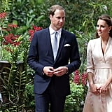 She strolled through the gardens with Prince William, only pairing her look with simple pearl earrings, a nude clutch, and nude L.K. Bennett pumps.