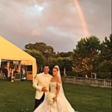 "Maksim Chmerkovskiy and Peta Murgatroyd said ""I do"" in a romantic outdoor ceremony at Oheka Castle in Long Island, New York, in July 2017."