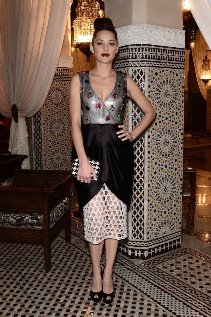 Marion Cotillard matched the scenery when she wore this intricately embellished Christian Dior number to the Dior-hosted dinner at the Marrakech International Film Festival.