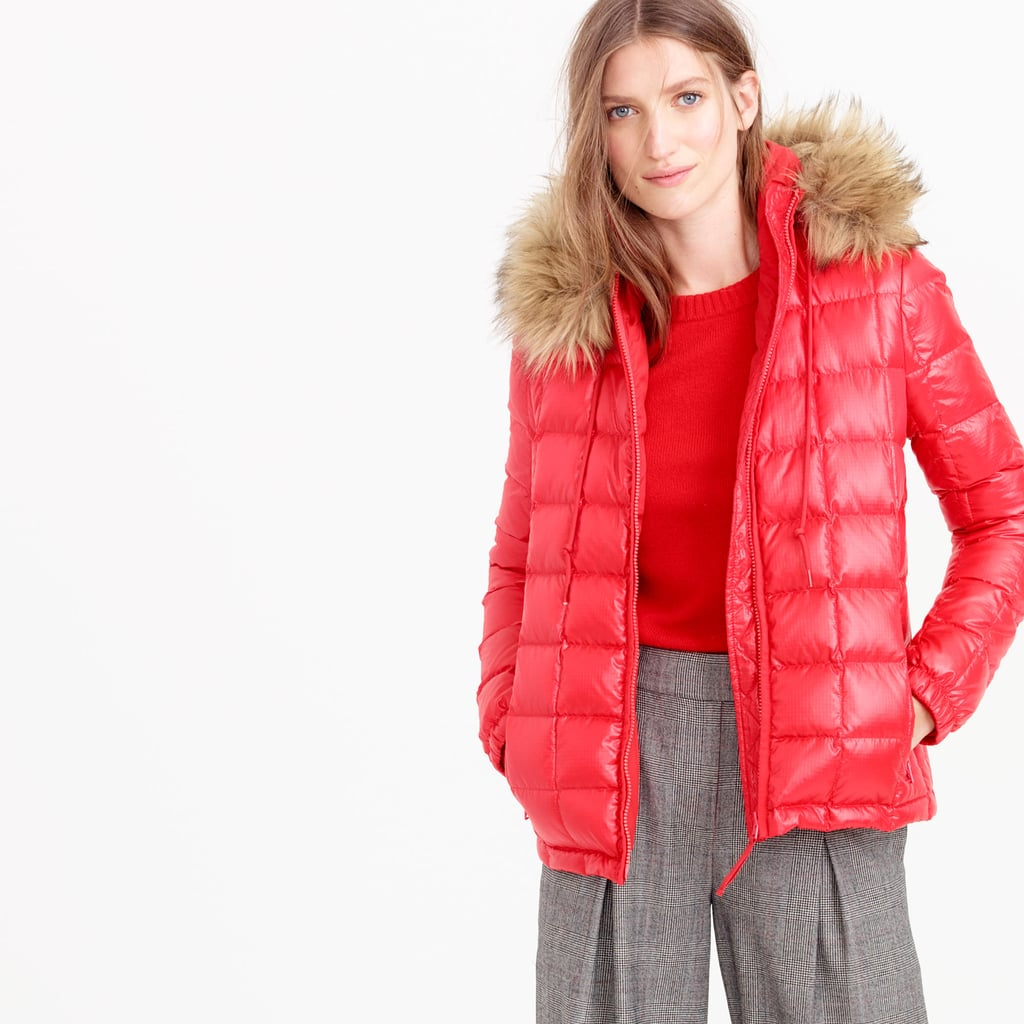 J.Crew Short Quilted Puffer Jacket With Faux Fur Hood ($150, originally $268)