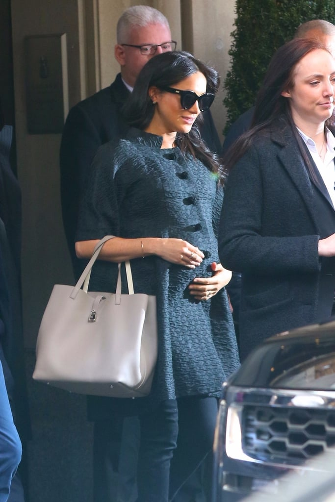 Meghan Markle is awaiting the arrival of her first child with Prince Harry, but first, she is celebrating with her nearest and dearest. After making a secret solo trip to NYC over the weekend, the Duchess of Sussex was spotted heading out for her baby shower at The Mark Hotel on Tuesday. Clad in an all-black ensemble, Meghan looked positively radiant as she cradled her baby bump while walking to her vehicle. As of now, it's reported that 15 of Meghan's closest friends will be present at the shower including Meghan's former Suits costar Abigail Spencer, who was spotted carrying a blue gift bag. So, does this mean Meghan and Harry are having a boy?! Meghan is expected to give birth in late April. While the royal couple is keeping the baby's sex a surprise, the little bundle of joy will be making royal history as the first British-American baby born into the royal family. So exciting!       Related:                                                                                                           Will Harry and Meghan Break Tradition When It Comes to Their Child's School?