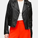 Petite Vegan Leather Moto Jacket