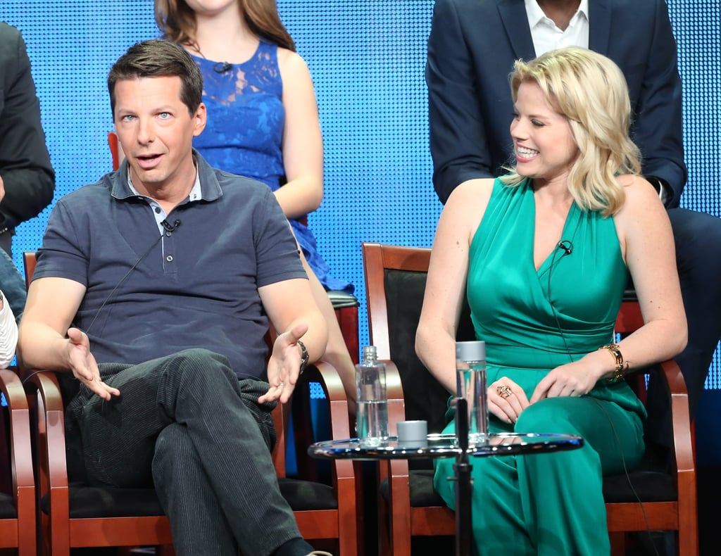 Megan Hilty and Sean Hayes laughed together on stage.