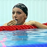 Dana Vollmer was stunned after winning the gold medal and setting a new world record in the 100m butterfly.