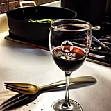 """The perfect end to a day: a glass of wine — in a """"vintage"""" PopSugar wine glass, of course."""