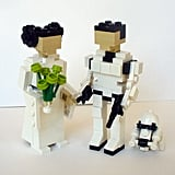 Leia and a Stormtrooper?! Add a shocking surprise to your wedding cake with lego toppers ($125).