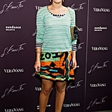 During a movie screening in NYC in May 2011, Margherita donned this colorful Missoni knit dress ($694) and topped it with a striped sweater for variety.