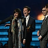 Fun. accepted their Grammy onstage.