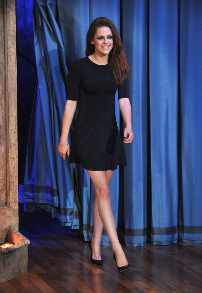 Kristen Stewart kept the leggy look intact at Late Night With Jimmy Fallon, wearing an A.L.C. Spring '13 LBD with classic black Jimmy Choo pumps.