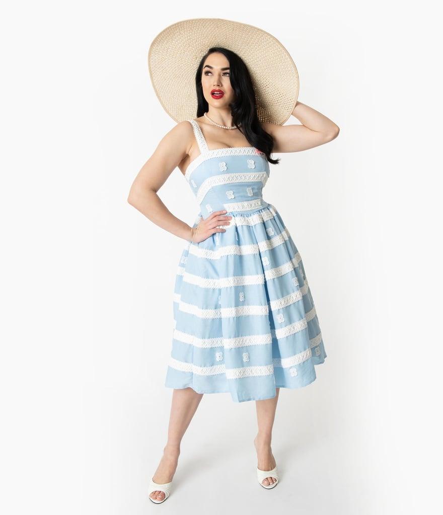 645e3ea65bf12 Barbie x Unique Vintage Blue   White Suburban Shopper Sundress ...