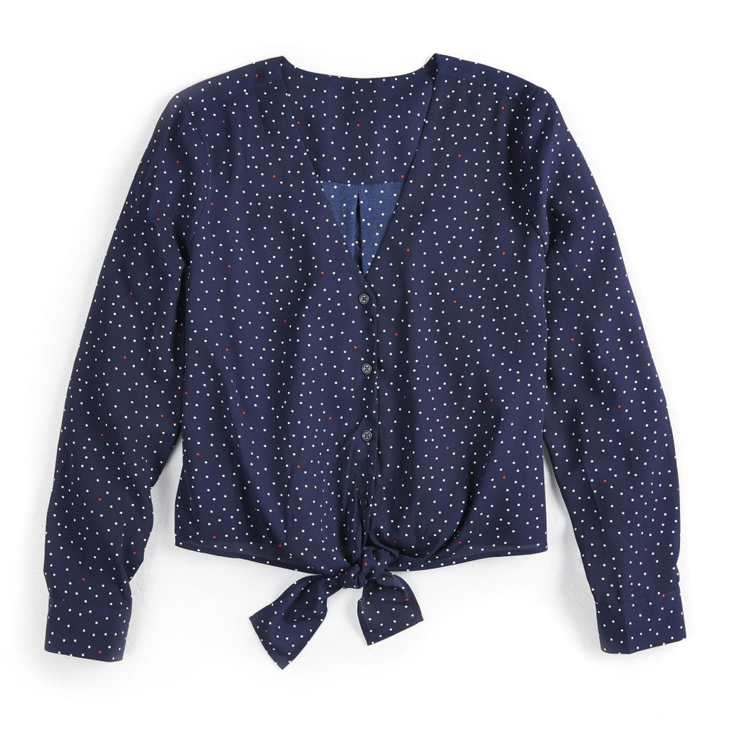 POPSUGAR Knot-Front Long Sleeve Top