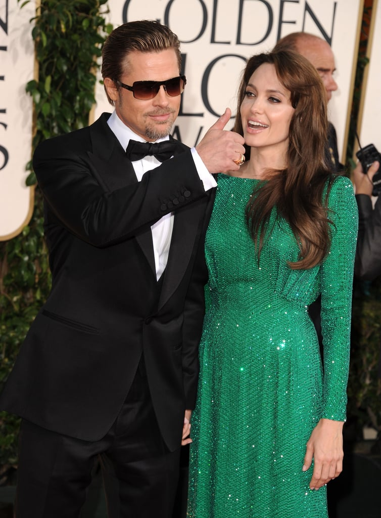 Angelina Jolie and Brad Pitt Wear His and Hers Versace at Golden Globes Red Carpet!