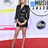 Selena wore a fitted leather Coach dress at the 2017 American Music Awards.