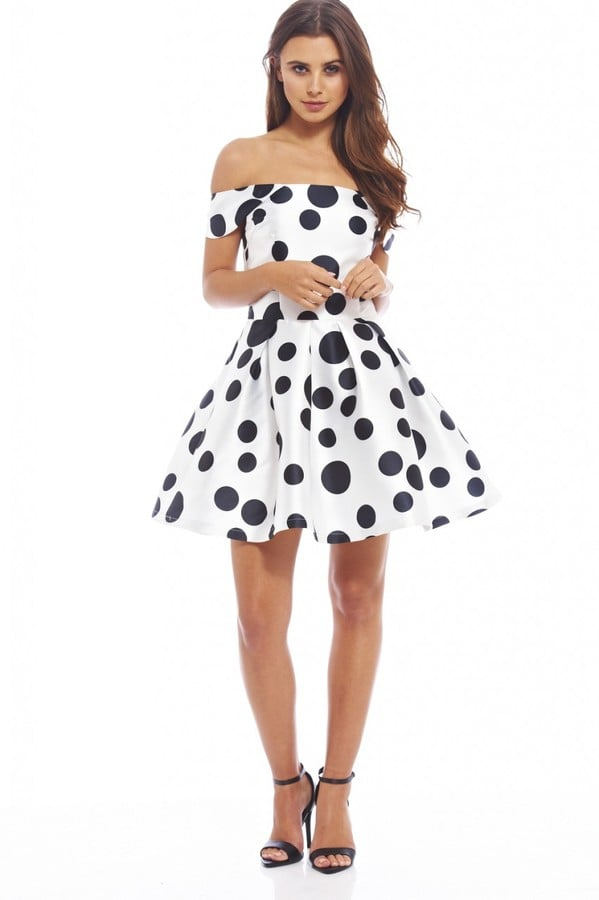 04c2821382fb AX Paris Polka Dot Off the Shoulder Skater Dress